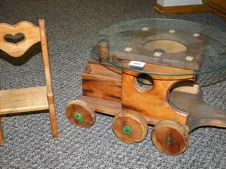 Wooden Train with Glass top  Small chair