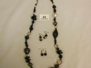 Black costume Necklace  2 earring