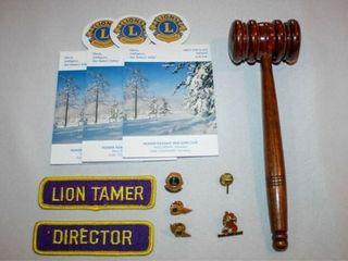 lions Club Memoribilia  Gavel  Pins  Patches
