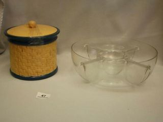 Small Cookie Jar  Glass Divided Bowl