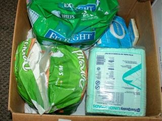 Box of Adult Diapers and bedpads