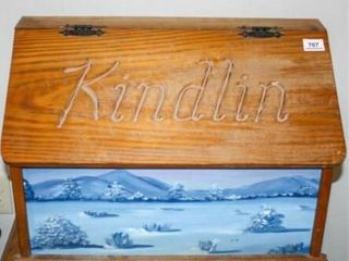 Kindlin Box with handpainted front  pinecones