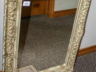 Gold Creme Plastic Frame Mirror