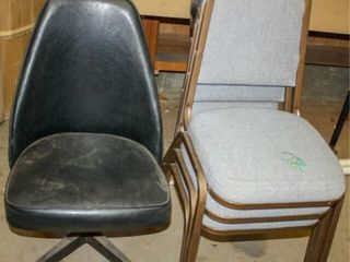 Metal Chairs and Rolling Chair
