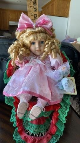 PORCElAIN DOll WITH CERTIFICATE OF AUTHENTICITY