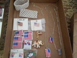 FlAG NECKlACES  BROOCHES  EARRINGS AND