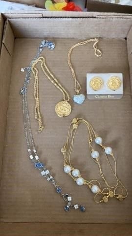 NECKlACES AND CHRISTIAN DIOR EARRINGS