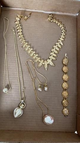 NECKlACES  CAMEO EARRINGS AND NECKlACE AMD CHANEl