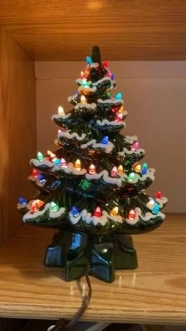 CERAMIC lIGHTED CHRISTMAS TREE 12 INCHES HIGH