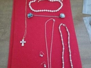 PEARl NECKlACES AND EARRINGS  CROSS NECKlACE AND