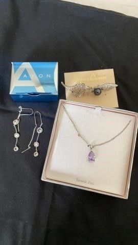 AVON EARRINGS  DRAPES AND DAMONS BROOCH AND