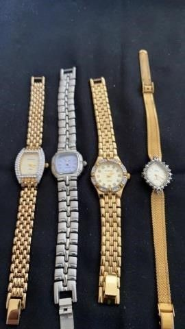 4 WOMENS JEWElED WATCHES