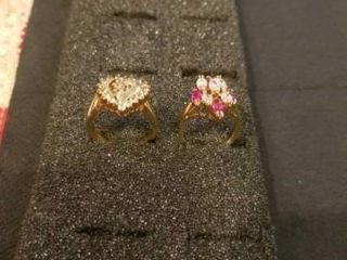 2 CUBIC ZIRCONIA GOlD BAND RINGS  SIZE 6