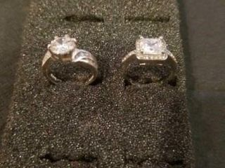 2 SIZE 6 COSTUME SIlVER BAND DIAMOND RINGS