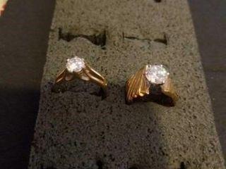 SIZE 6  COSTUME GOlD BAND DIAMOND RINGS