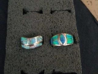 SIZE 6 STERlING SIlVER  TURQUOISE RINGS