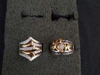STERlING SIlVER BANDS WITH SIlVER AND GOlD  SIZE