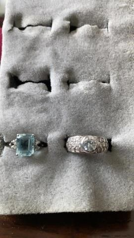 STERlING SUlVER BANDS BlUE AND DIAMOND lIKE