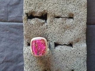 RED AND PINK SQUARE STONE STERlING SIlVER SIZE 6