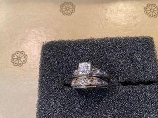 SIlVER BAND WEDDING SET IJDIAMONDS   Size 5 1 2 OR