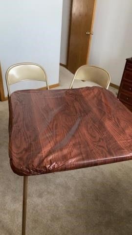 CARD TABlE AND 2 CHAIRS AND COVER FOR TABlE COSCO
