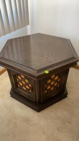 1960IJS   OCTAGON END TABlE WITH ORANGE ACCENTS