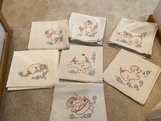 7 HAND STITCHED DISH TOWElS OF PUPPIES