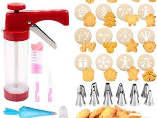 Cookie Press 41 PCS Cookie Press Gun with 16 Christmas Spritz Mold Decorative Stencil Discs  Icing Tips  EVA bags for Cookies  Biscuit Macaroon   Churro Maker Good Baking Kits for Christmas