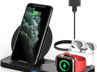 Powlaken 3 in 1 Wireless Charger  Wireless Charging Station Compatible for Apple iWatch Series SE 6 5 4 3 2 1  AirPods Pro 2  Wireless Charging Stand Dock for iPhone 11  11 Pro Max  XR  XS  X Black
