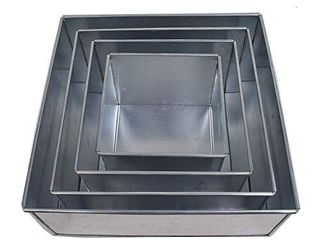 Set of 4 piece square cake baking pans by Euro Tins 6  8  10   12 Inch  4  Deep