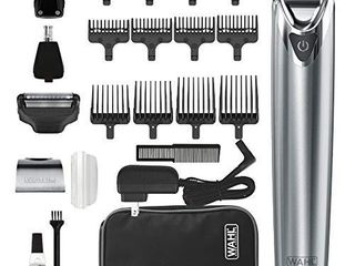 Wahl Stainless Steel lithium Ion 2 0  Slate Beard Trimmer for Men   Electric Shaver  Nose  Ear Trimmer  Rechargeable All In One Men s Grooming Kit   Model 9864SS