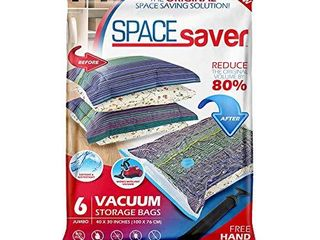 Spacesaver Premium Vacuum Storage Bags  80  More Storage  Hand Pump for Travel  Double Zip Seal and Triple Seal Turbo Valve for Max Space Saving   Jumbo 6 Pack