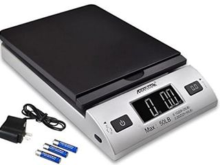 ACCUTECK All in 1 Series W 8250 50bs A Pt 50 Digital Shipping Postal Scale with Ac Adapter  Silver