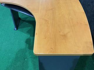 Dark Wood Grain Kidney Shape Desk