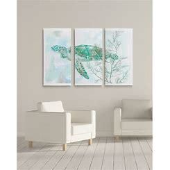 Watercolor Sea Turtle II Premium Gallery Wrapped Canvas 3 Panel Set