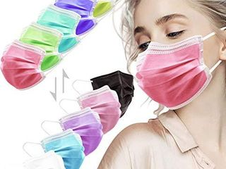 HIWUP Face Masks  3 layer Disposable Face Masks with Nose Clip and Ear loops Multicolored Pack of 50  5 colors