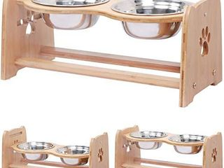 X ZONE PET Raised Pet Bowls for Cats and Dogs  Adjustable Bamboo Elevated Dog Cat Food and Water Bowls Stand Feeder with 2 Stainless Steel Bowls and Anti Slip Feet  Height 7 9
