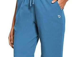 BAlEAF Athletic Workout Cotton lounge Shorts for Women long Bermuda Running Sweat Gym Stretchy Pajama with Pockets Copen Blue Size S