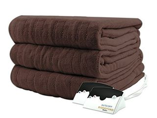 Biddeford Micro Plush Electric Heated Blanket with Digital Controller  Queen  Chocolate