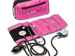 PARAMED Aneroid Sphygmomanometer with Stethoscope Manual Blood Pressure Cuff with Universal Cuff 8 7   16 5  and D Ring Carrying Case in The kit Pink