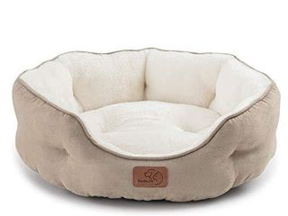 Bedsure Round Cat Bed for Indoor Cats Clearance  20 inch Small Washable Dog Bed for Puppy and Kitties with Slip Resistant Bottom  Plush Flannel Pet Supplies  Camel