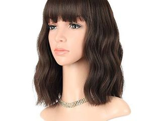 FAElBATY Short Brown Wigs With Bangs Shoulder length Wig For Women Curly Wavy Synthetic Cosplay Wig for Girl Costume Wigs  12  Natural Black Dark Brown Mix Color