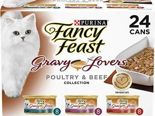 Purina Fancy Feast Gravy Wet Cat Food Variety Pack  Gravy lovers Poultry   Beef Feast Collection    24  3 oz  Cans