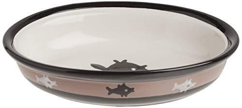 PetRageous 10070 Oval City Pets Stoneware Cat Bowl 6 25 Inch Wide and 1 5 Inch Tall Saucer with 1 Cup Capacity and Dishwasher and Microwave Safe is Great for Cats  Black and Brown