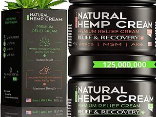 Hemp Pain Relief Cream   Hemp Cream for Pain Relief and Inflammation   Relieves Knees  Joints   Back Muscle   Made in USA   Natural Hemp Oil Extract with MSM  Turmeric   Arnica   8oz