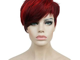 Aimole Synthetic Short 6 Inches Red Drakest Brown Straight Wig Heat Resistant Full Capless Hair Party Wig 99J 20C