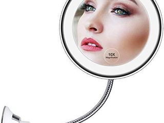 10X Magnifying Makeup Mirror  lED Mirror Adjustable Flexible Gooseneck   locking Suction Cosmetic Mirror  Magnification Mirrors  360 Swivel Wall Mirror  Vanity Mirror for Bedroom Bathroom