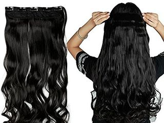S noilite Elegant 29 73cm  longest Curly Natural Black 3 4 Full Head One Piece 5 Clips Clip in Hair Extensions