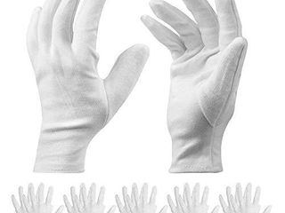 10 Pairs White Cotton Gloves   9 8inch long Work Gloves Cosmetic Moisturizing Gloves for Dry Hands   Eczema  Jewelry Inspection and More   large Size