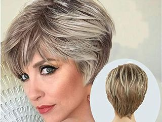 lady Miranda Brown Mixed Blonde Color Short layer Nature Curly with Bangs Synthetic Wig Heat Resistant Weave Full Wigs for Women  Brown Blonde
